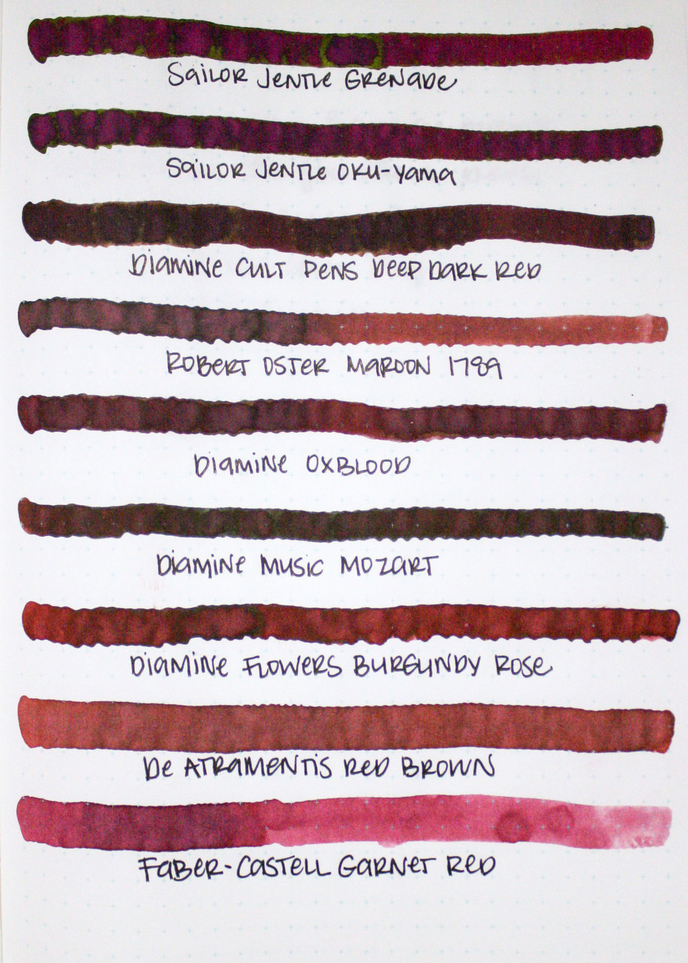 Similar inks... - The ink that looks the closes to Grenade is Sailor Jentle Oku-Yama (they are VERY similar). The next closest is Diamine Burgundy Rose, from the flowers set. It has a similar sheen, but is more red than Grenade and Oku-Yama.