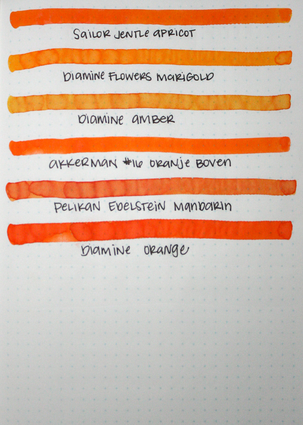 Similar inks... - I would say the closest ink to Apricot is Akkerman #16 Oranje Boven. It doesn't have the silver sheen that Apricot does, but it shows similar tone and saturation.