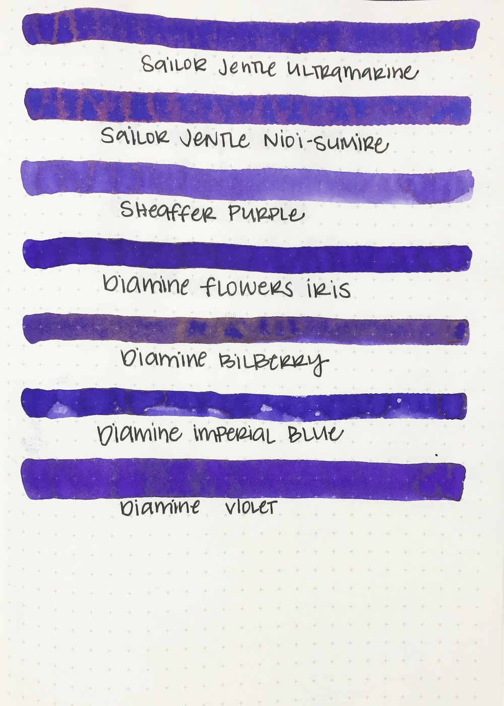 Similar inks... - The closest ink is Sailor Jentle Nioi-Sumire. The second closest is Diamine Imperial Blue, which has a lot less sheen. Seasonally, I would use this ink during the winter.