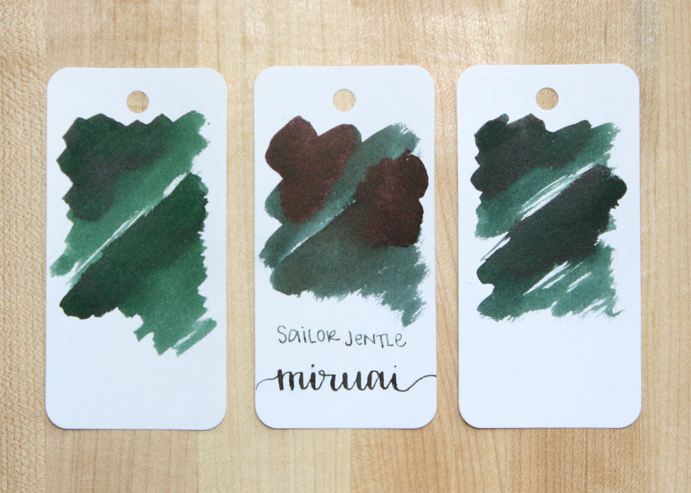Similar inks: - Left to right, Diamine Green/Black, Sailor Jentle Miruai, and Diamine Cult Pens Deep Dark Green. I think Deep Dark Green is the closest, but it has just a bit more yellow in it, and lacks the full black sheen.