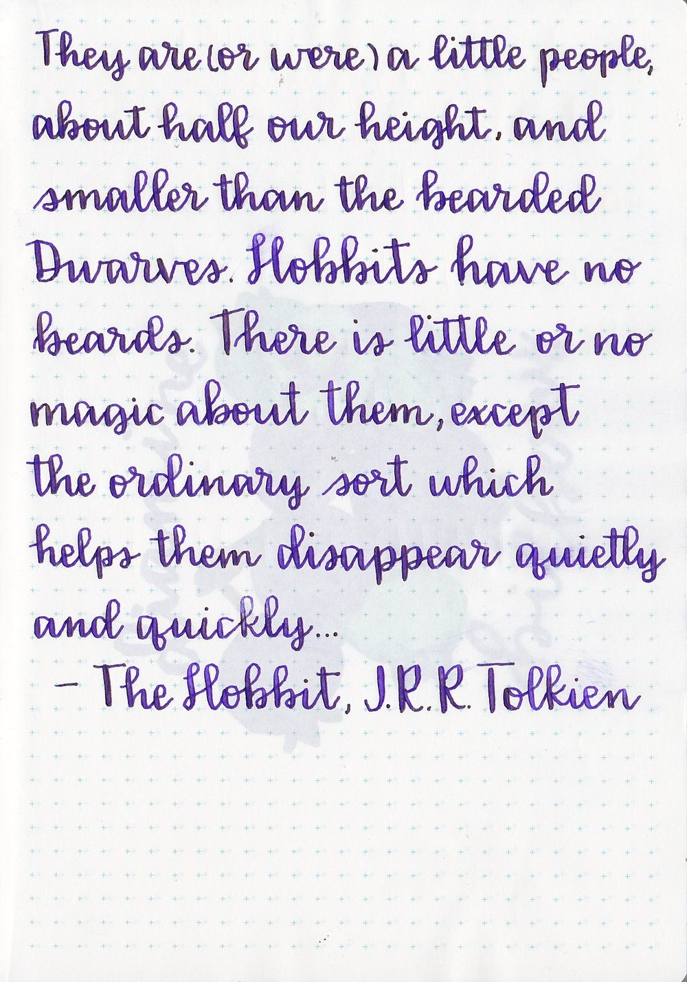 Longer writing... - I've started using a portion of The Hobbit for my writing examples, I'm sure by the time I review all of the inks I want to I'll have written out the entire book. I used a Noodler's Ahab for this writing, on Tomoe River paper. The ink showed sheen on every word I wrote.