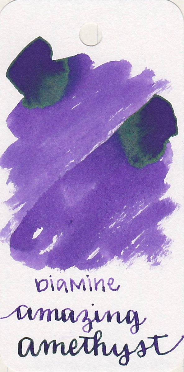 The color... - Amazing Amethyst is a medium purple, with silver/green sheen.