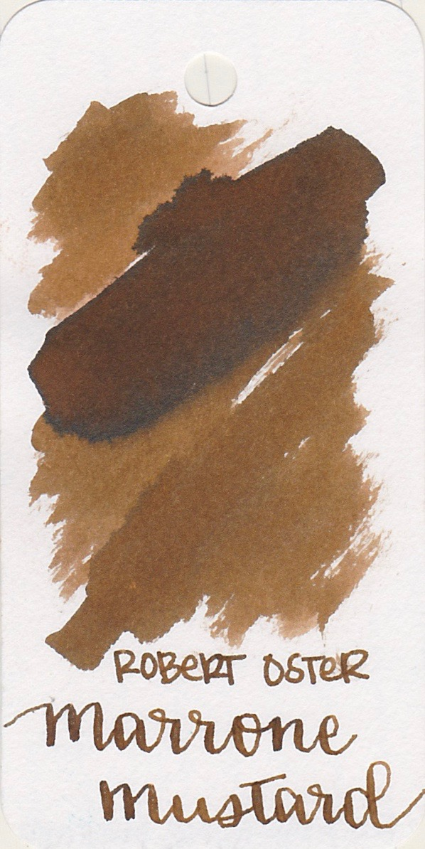 The color... - Marrone Mustard is a medium brown, with some light shading.