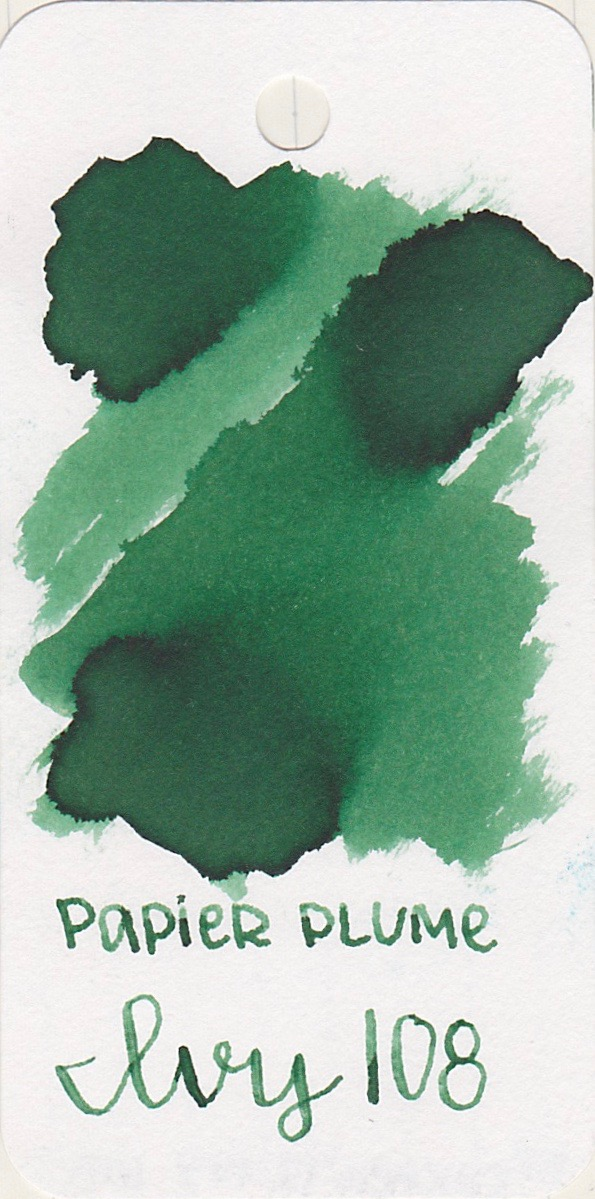 The color... - Ivy 108 is a dark green with light shading.