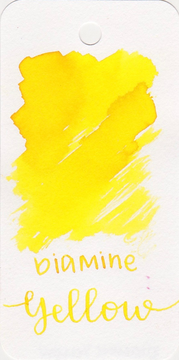 DiamineYellow - Yellow is a bright, sunny yellow. This ink is good for highlighting, but not great for everyday writing.
