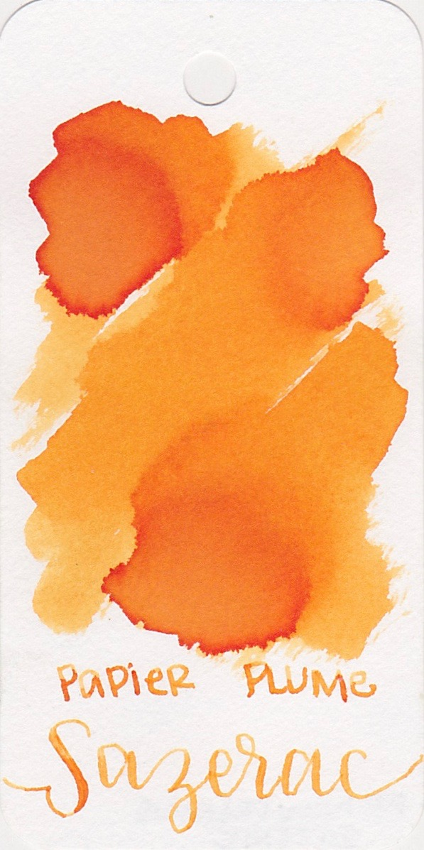The color... - Sazerac is a light orange with a little bit of shading. There is no sheen. Seasonally, I would use this ink in the spring.