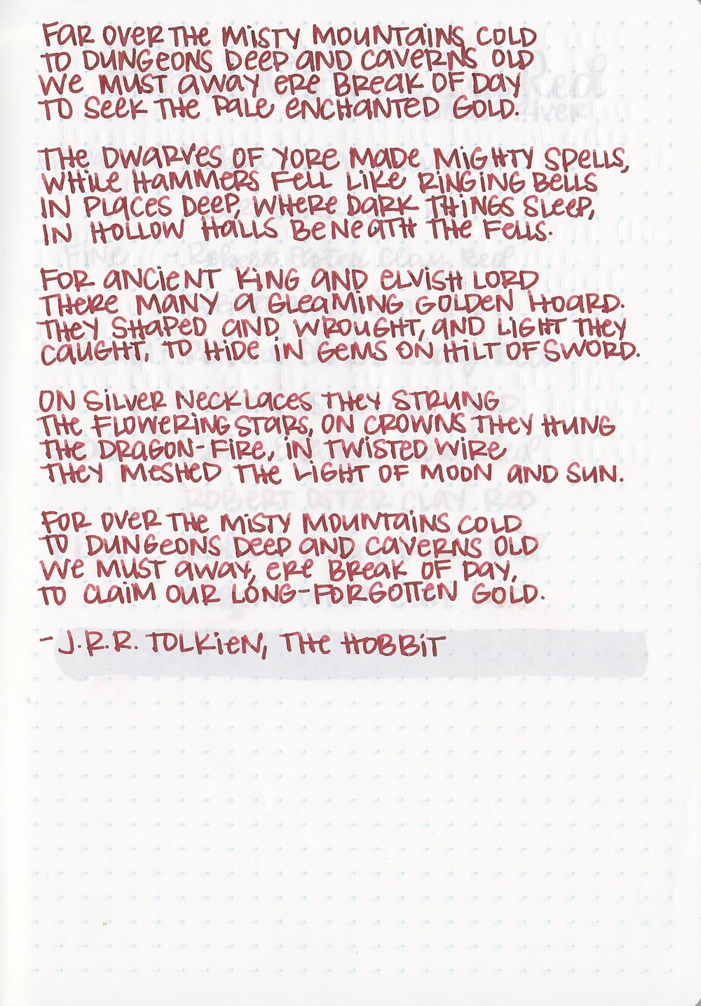 Longer writing: - Clay Red has a medium flow and dry time. The ink showed medium shading and no sheen on this page.