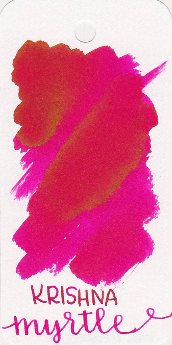 The color... - Myrtle is a bright pink with a tiny bit of gold sheen.
