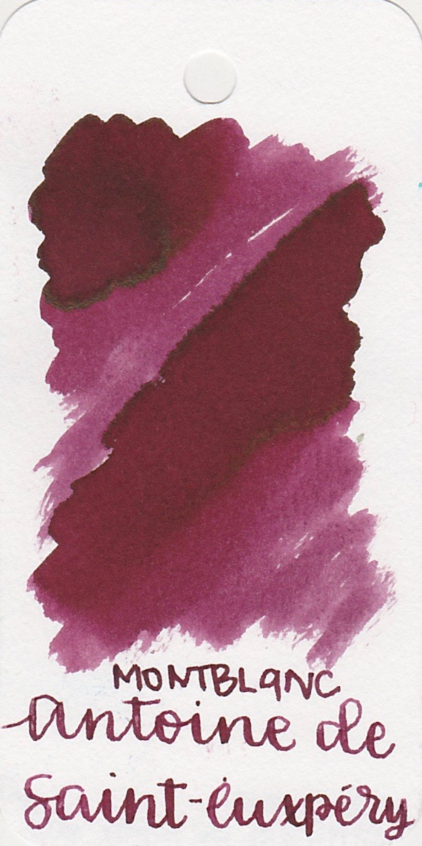 The color... - Antoine is a burgundy (reddish-purple). Depending on the lighting, sometimes it looks more purple and sometimes it looks more red. There is a subtle gold sheen as well. Seasonally, I would use this ink in the fall (and I spelled Exupery wrong again...dangit).