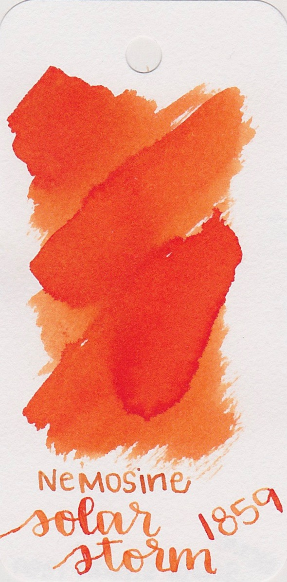 Nemosine Solar Storm 1859 - I've just recently started playing with Nemosine inks, but so far the ones I have tried have been great. Solar Storm is a fabulous orange for fall.