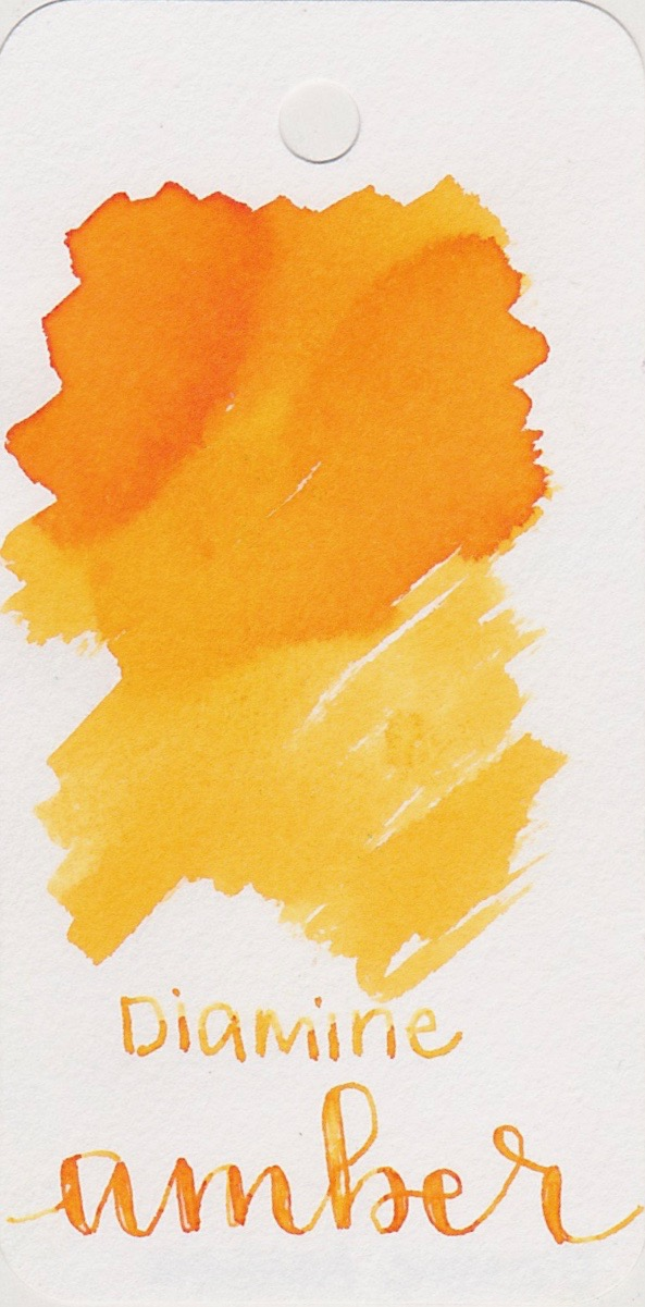DiamineAmber  - This ink is great for emphasizing parts of the page, instead of the main writing.