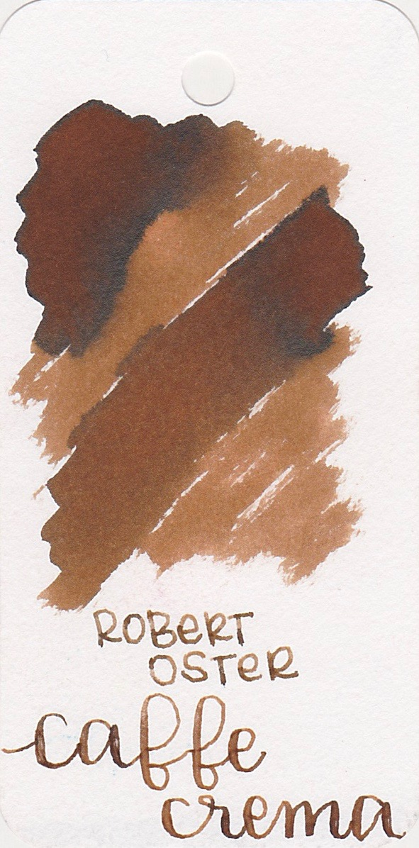 The color: - Caffe Crema is a medium brown with shading and black sheen.