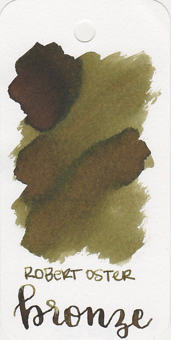 The color: - Bronze is a brown ink with green undertones.
