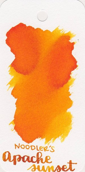 Swatch of brilliant yellow-orange Noodler's Apache Sunset