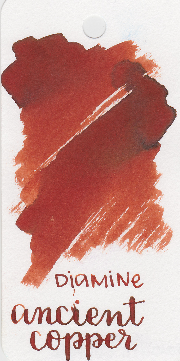 The color... - Ancient Copper is a red brown with shading and dark brown sheen.