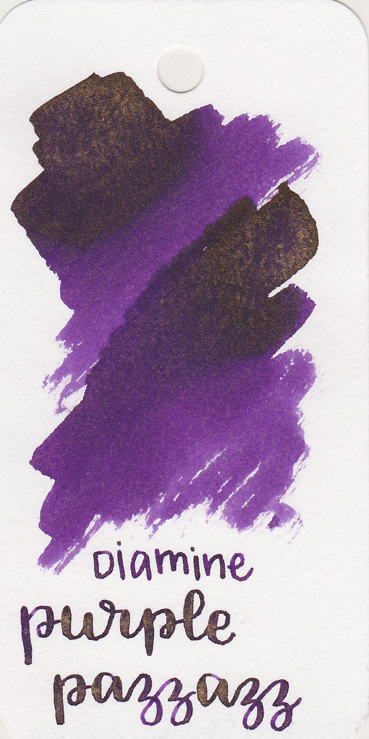 The color: - Purple Pazzazz is a medium purple with gold shimmer.