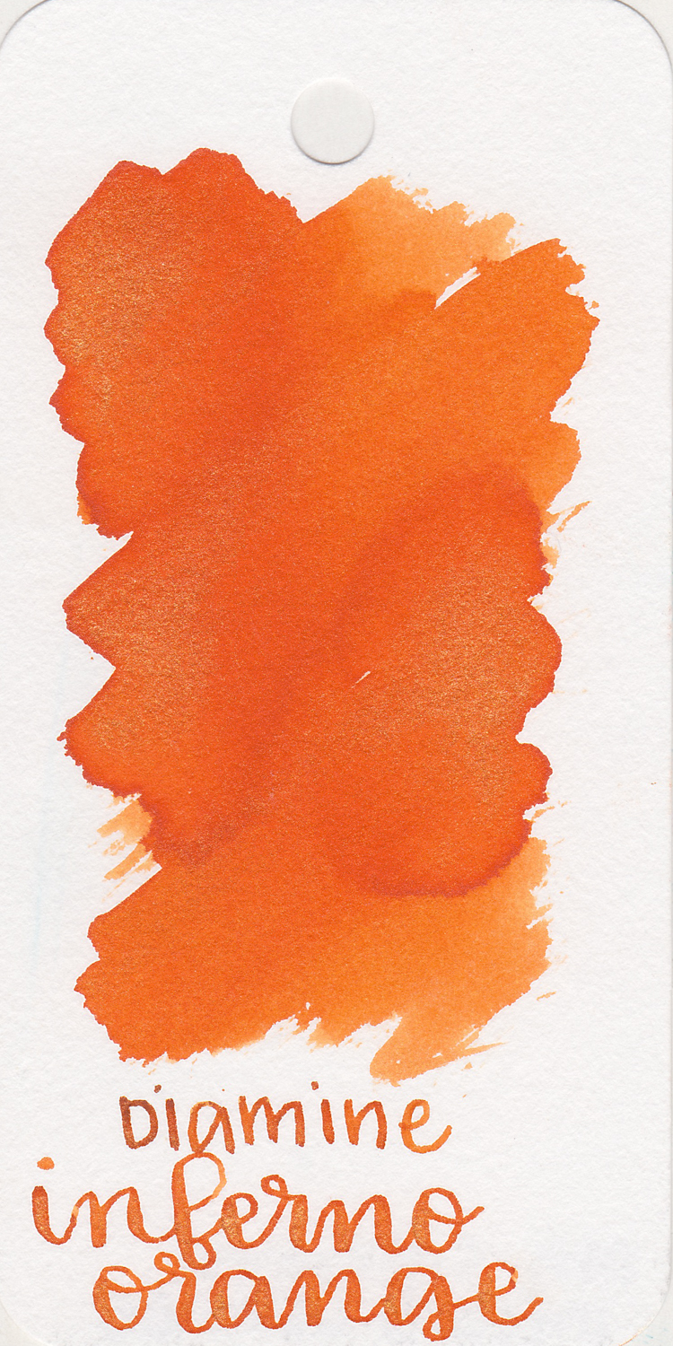 The color... - Inferno Orange is a bright orange with gold sheen. Seasonally, I would use this ink in the summer.