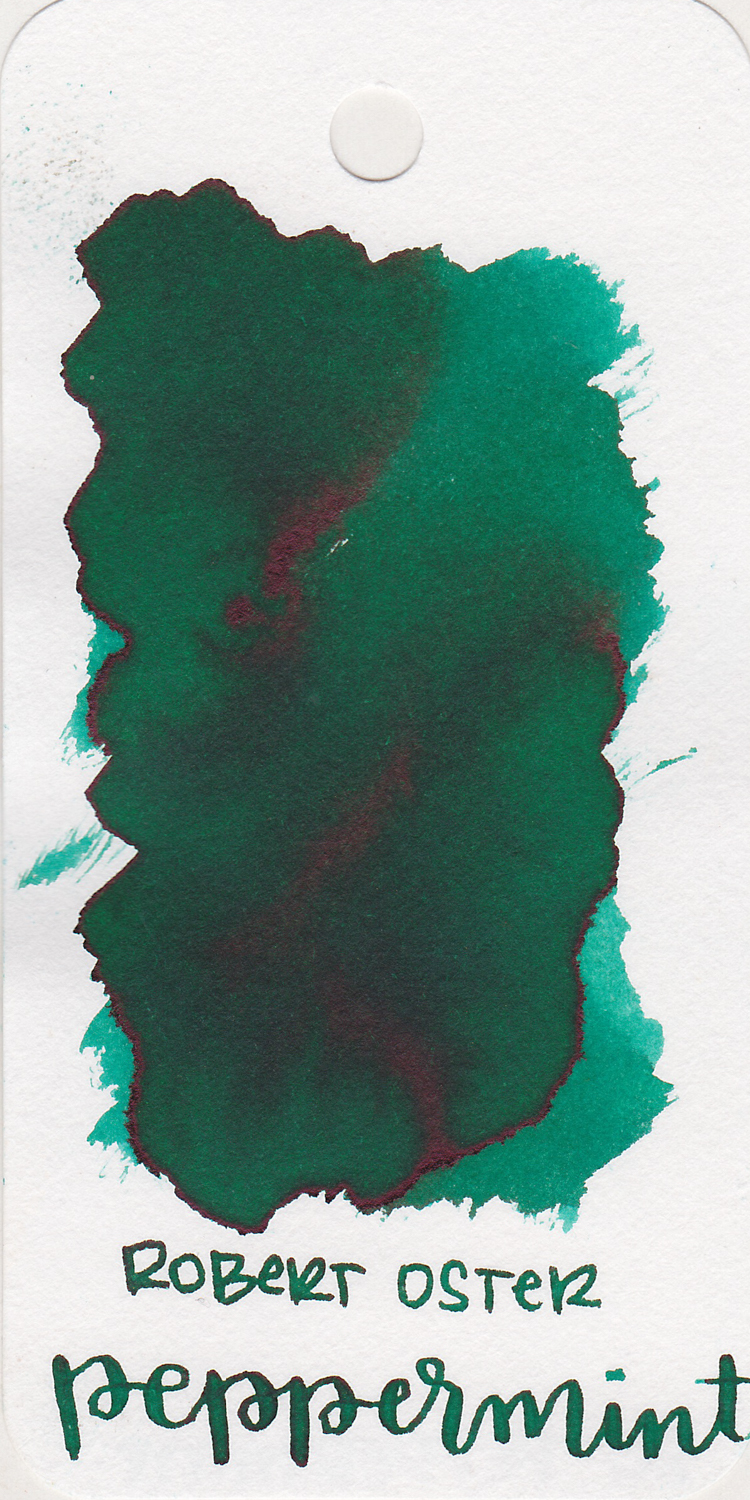 The color... - Peppermint is a medium green with dark pink sheen.