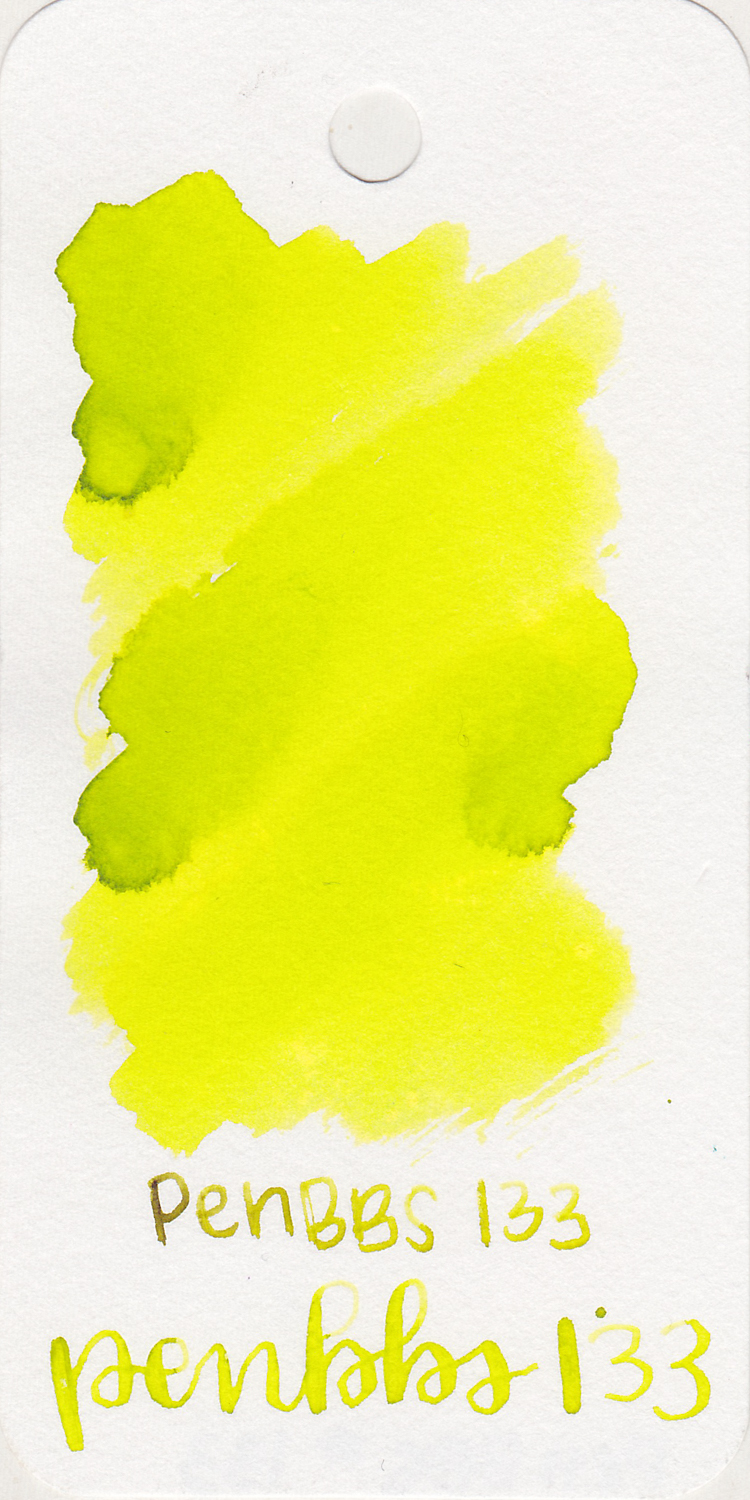 The color... - 133 is a bright green-yellow. It's very very bright-hurt your eyes bright.