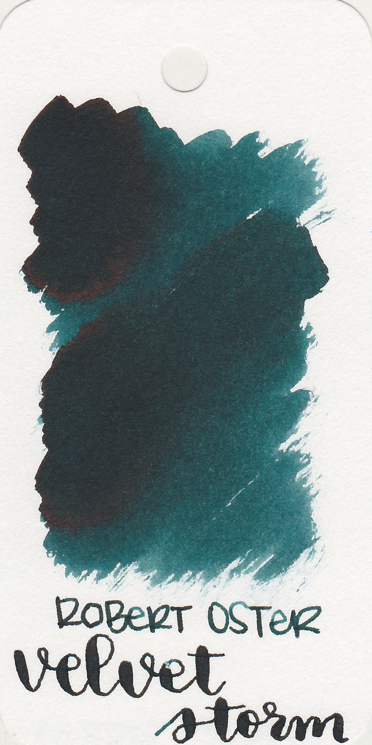 The color: - Velvet Storm is a dark teal with some shading and sheen.