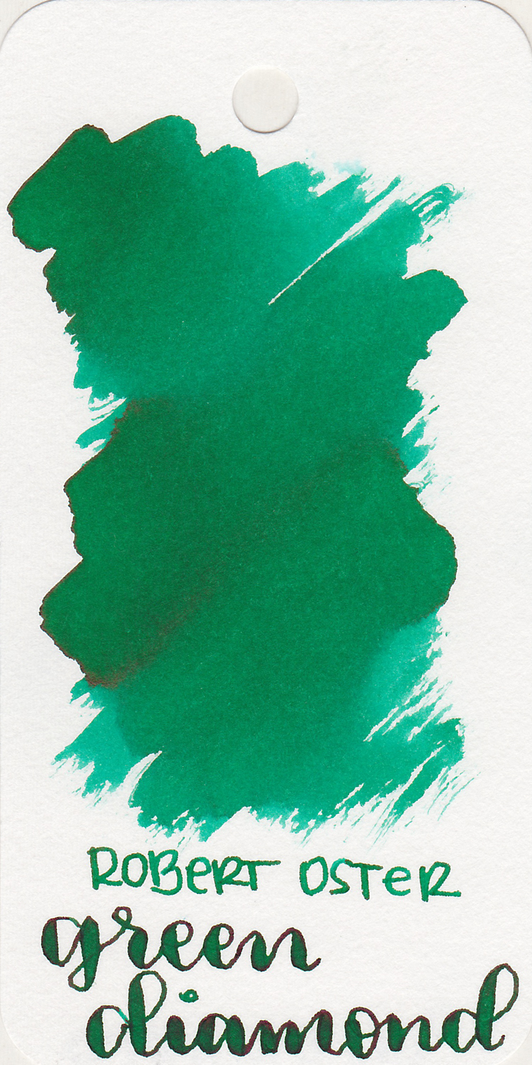 The color: - Green Diamond is a medium bright green with some shading and sheen.