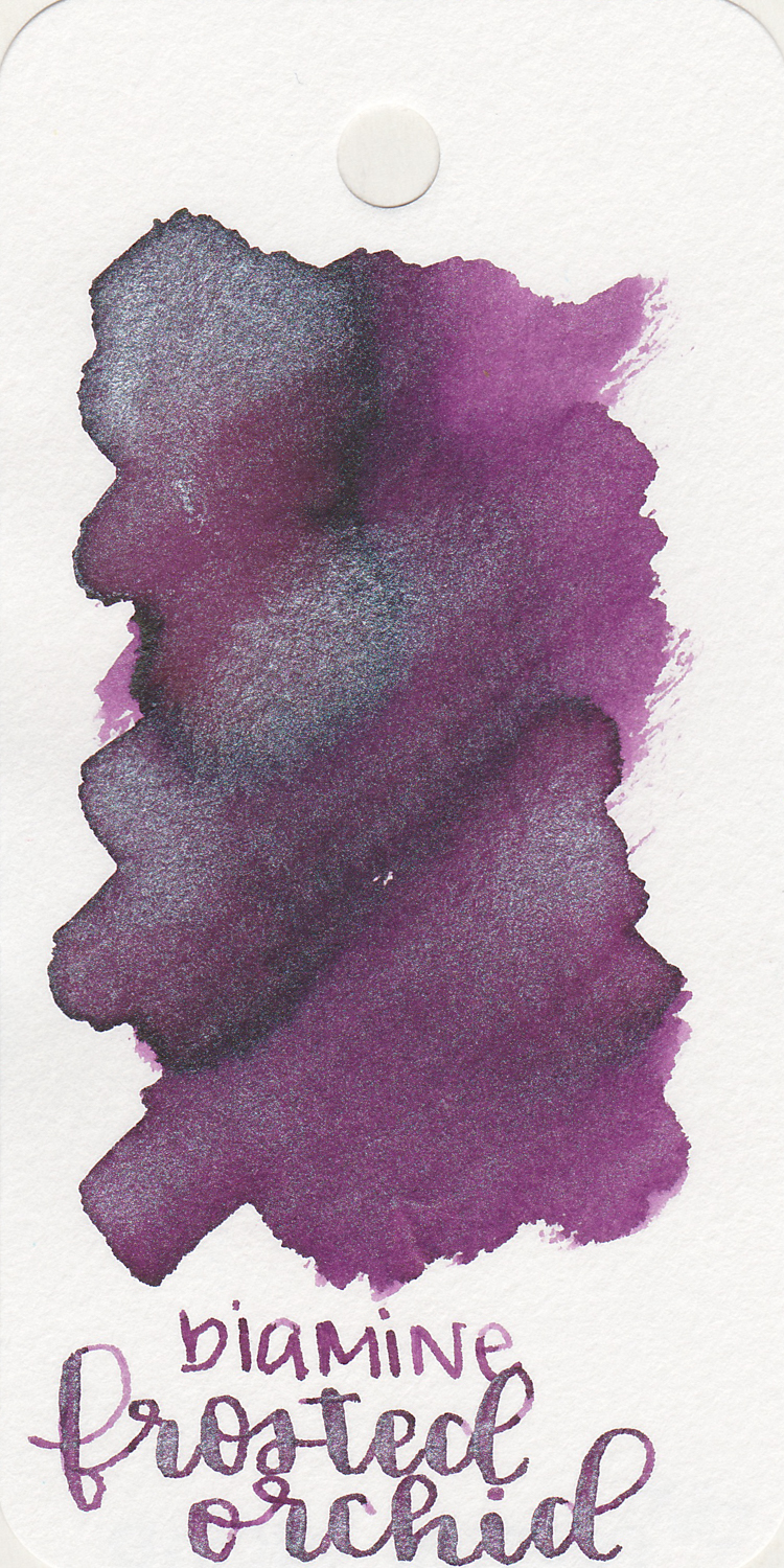 The color: - Frosted Orchid is a medium purple with silver sheen.