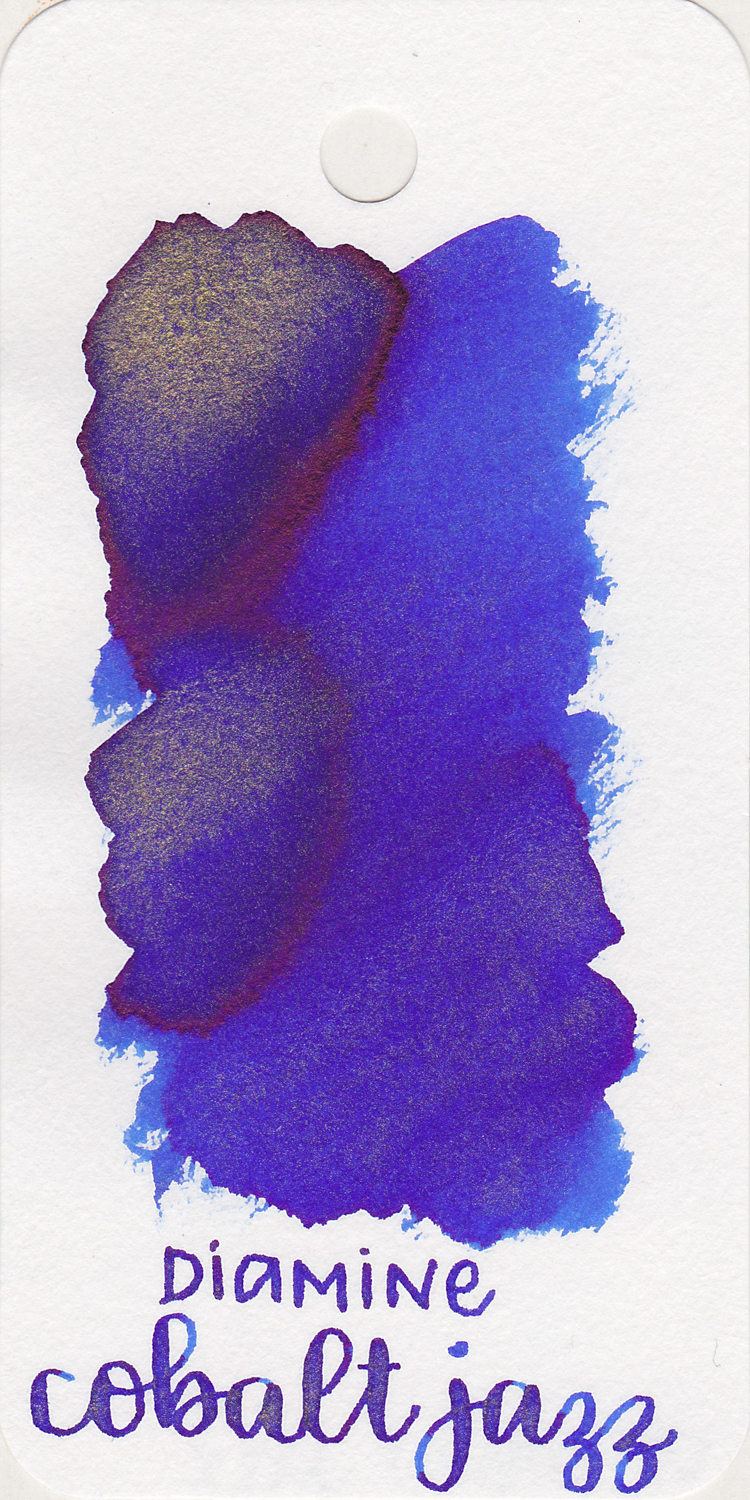 The color: - Cobalt Jazz is a medium blue with dark pink sheen and gold shimmer.