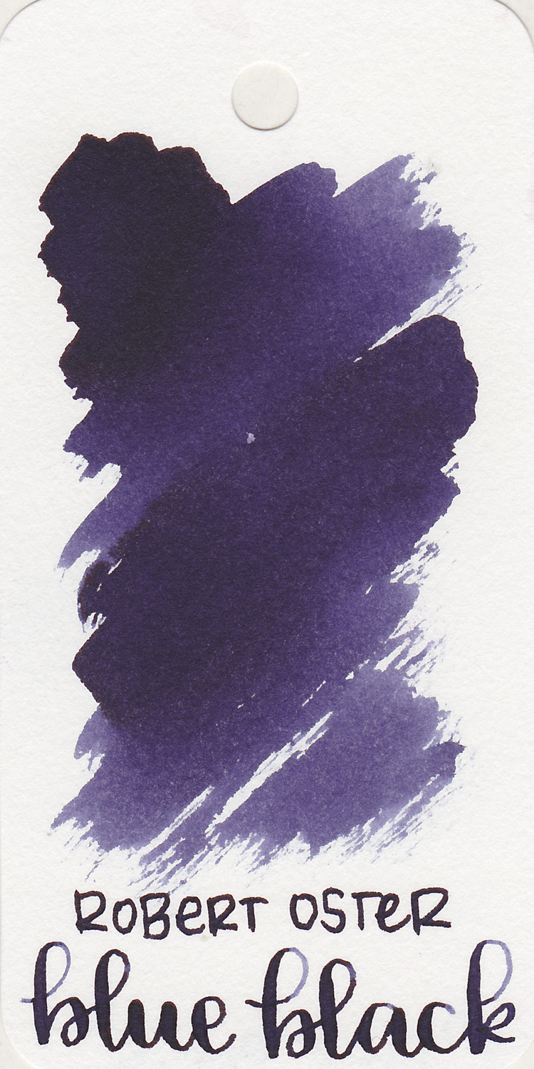 Robert Oster Blue Black - This blue-black leans more toward purple, but I think that's part of why I like it so much. I put this in a Pelikan M805 Ocean Swirl, and I wrote the pen dry in less than 24 hours, so I obviously like it.