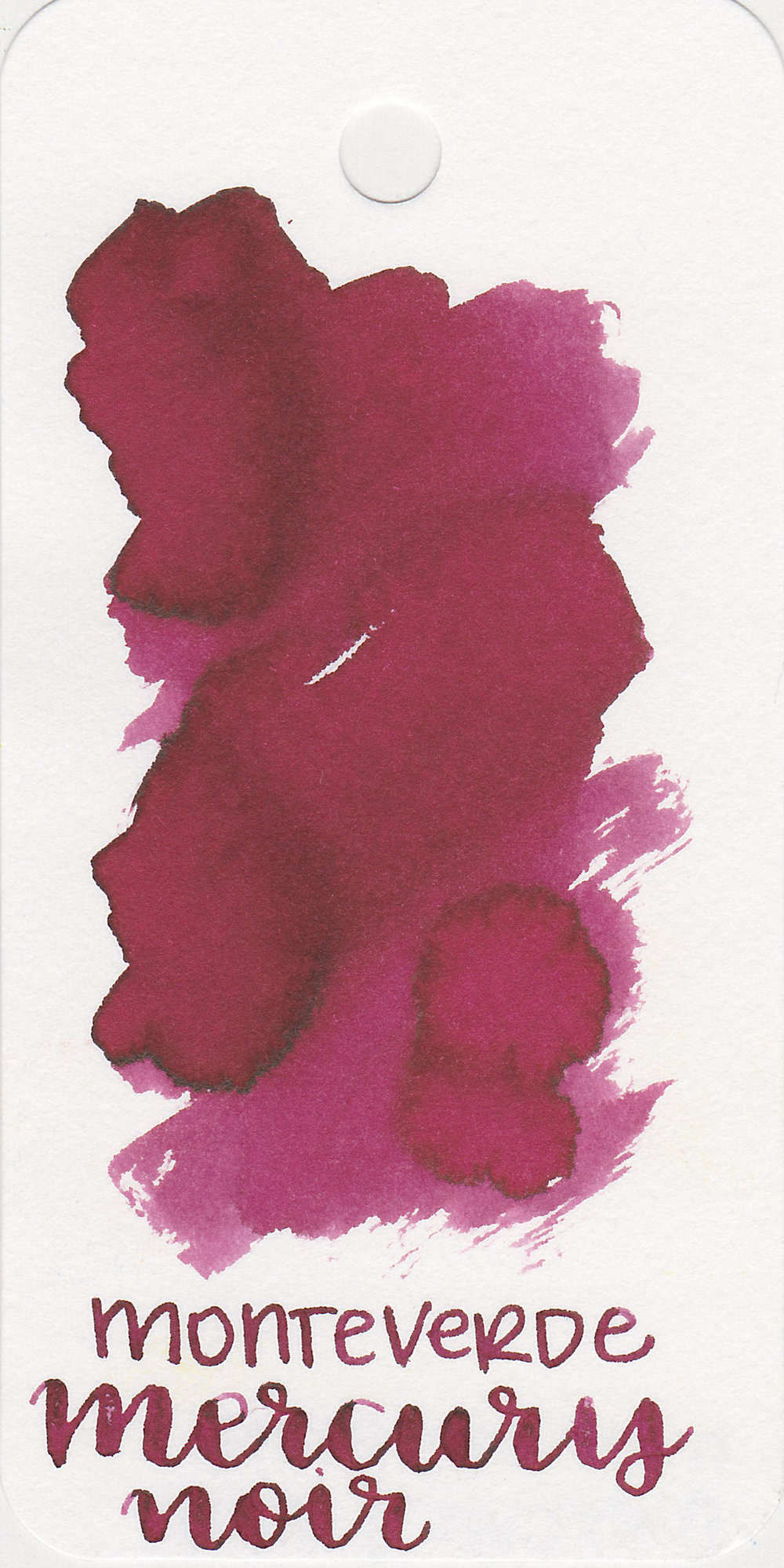 The color: - Mercury Noir is a dusky red, on some papers it almost looks dark pink.