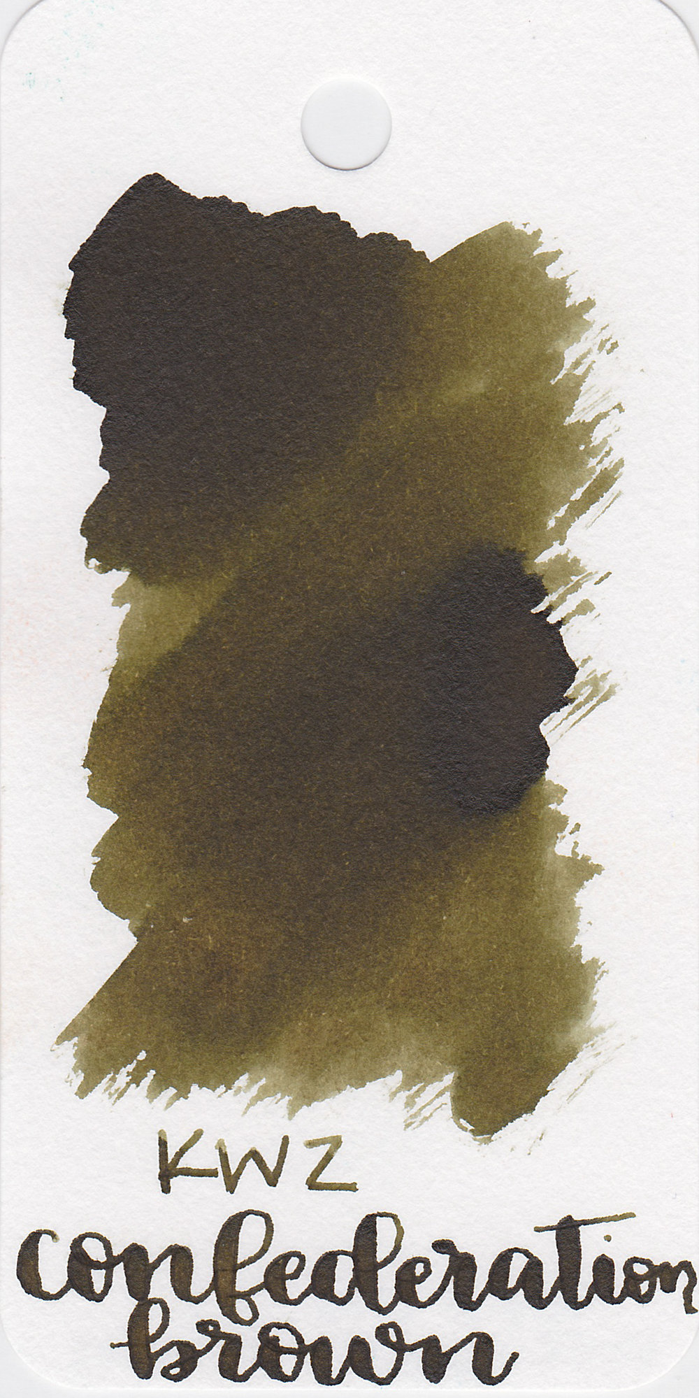 The color: - Confederation Brown is a dark brown with a green undertone.
