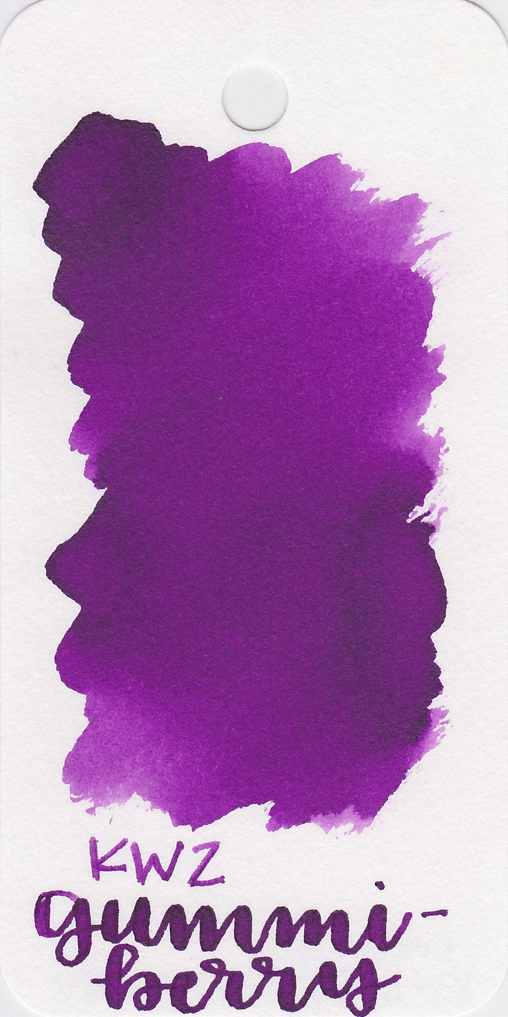 The color: - Gummiberry is a medium, saturated purple.