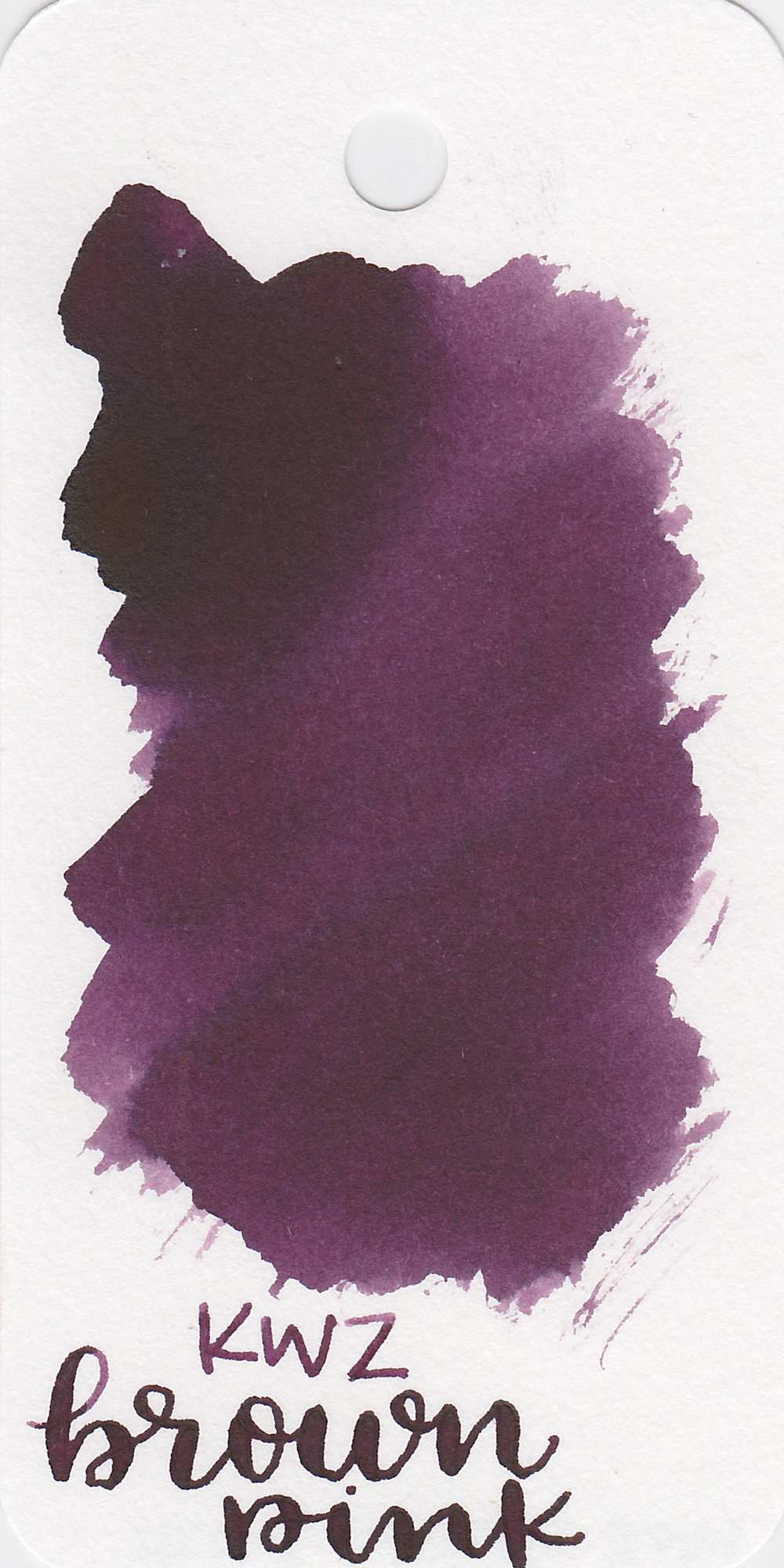 The color: - Brown Pink is a lovely purple. Based on the name I was expecting more of a brown, but it's a pretty purple.