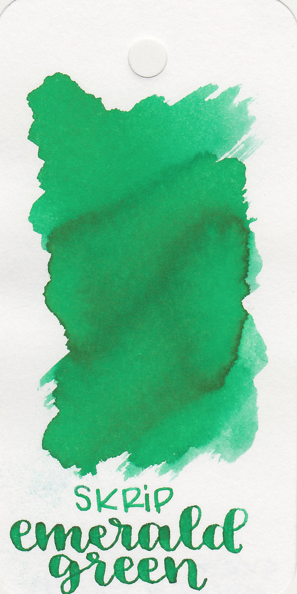 The color: - Emerald Green is a medium bright green.