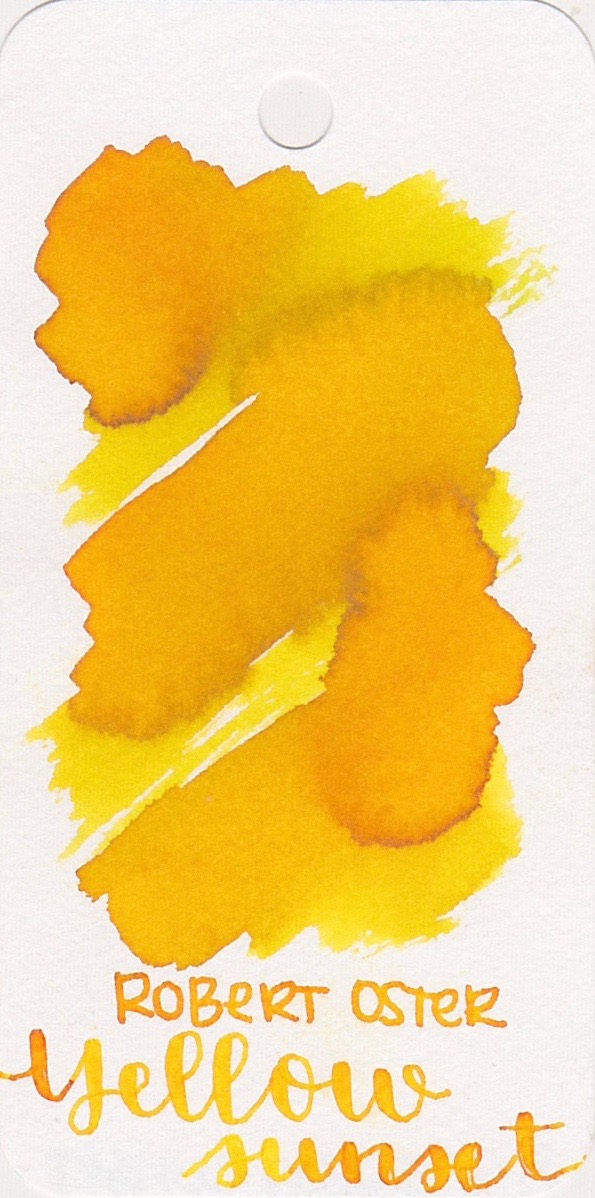Robert Oster Yellow Sunset - Yellow Sunset is still one of my favorite yellows of all time. It has some amazing shading and is dark enough to be readable.