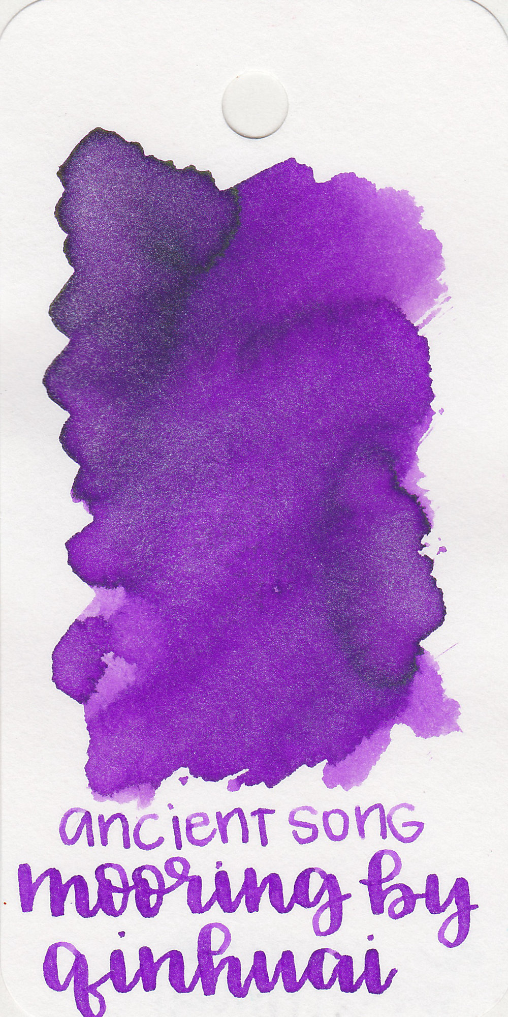 The color: - Mooring by Qinhuai is a beautiful medium purple with silver shimmer.