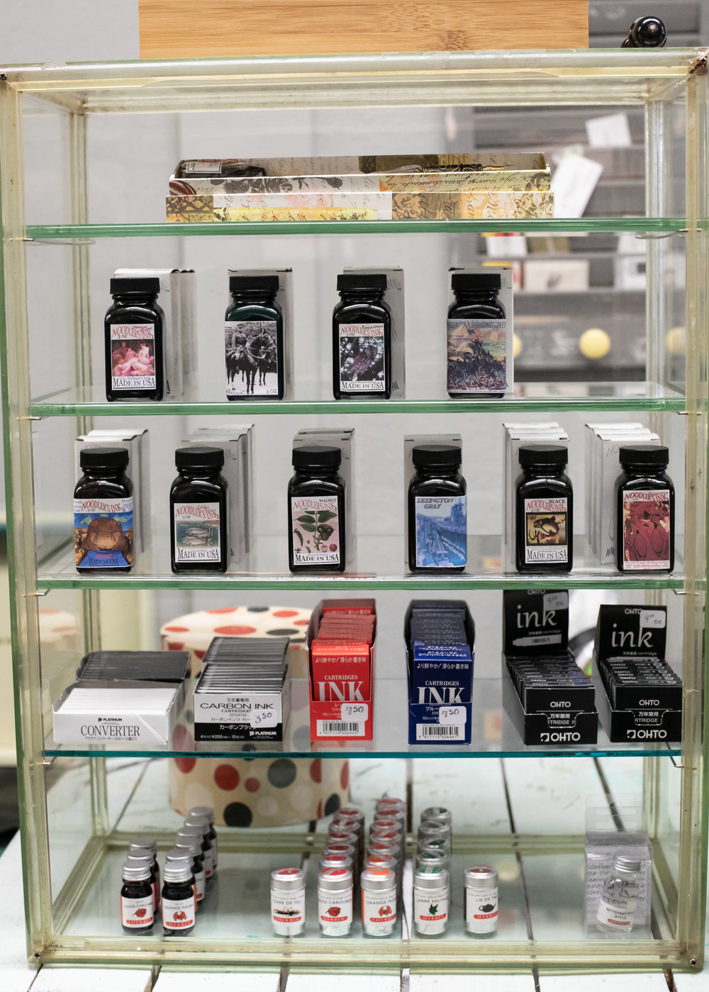 The ink - There is a cabinet full of fountain pen ink, mainly Noodler's and J. Herbin.