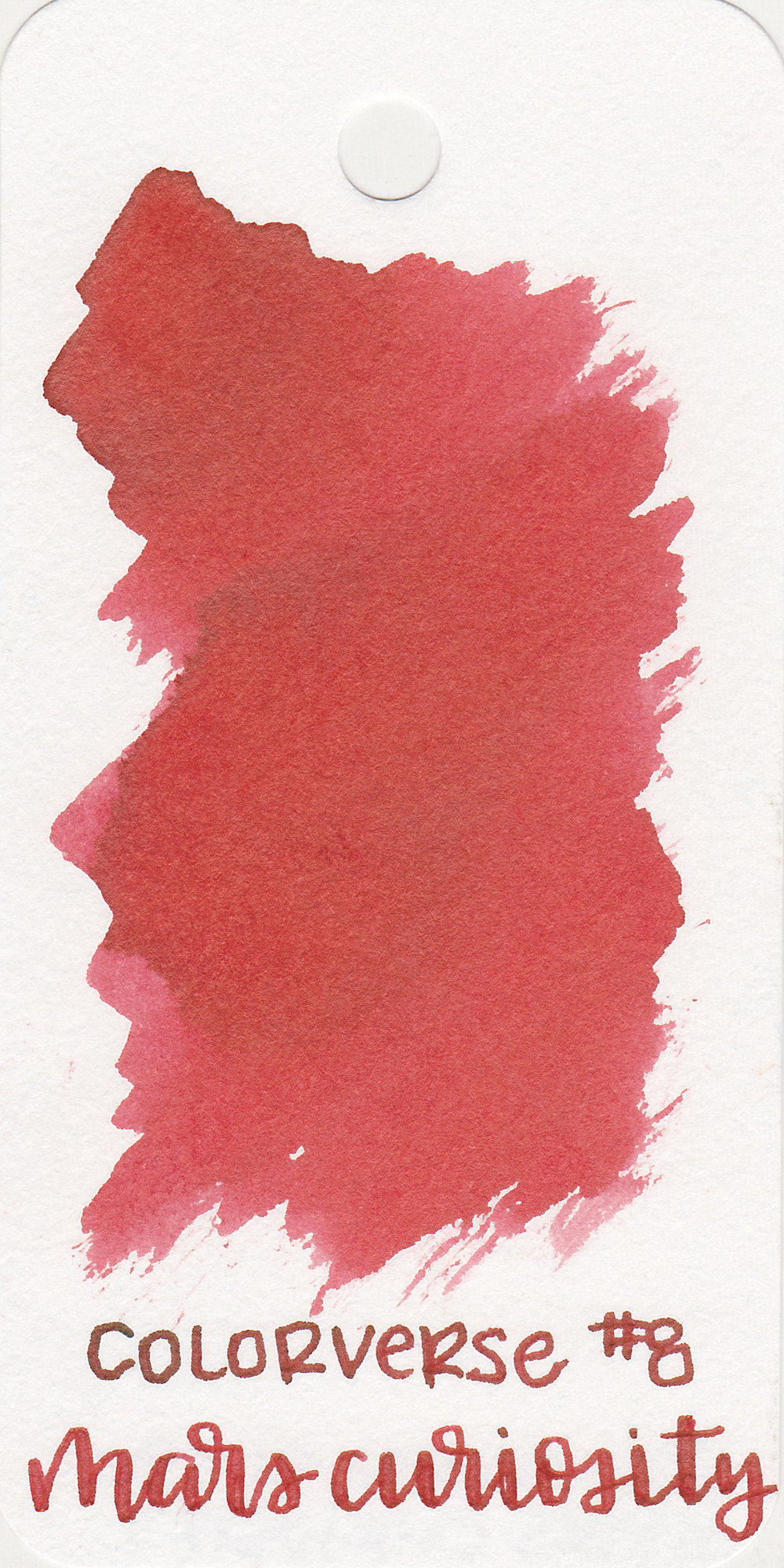 The color: - Mars Curiosity is a medium, slightly dusky red.