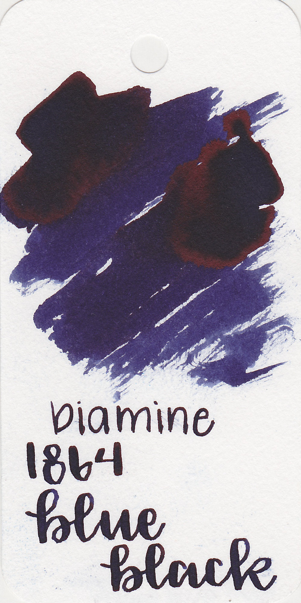 The color: - 1864 is a dark blue black with a purple undertone.