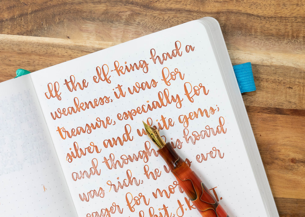 I used an Edison Collier Persimmon Swirl with a Regalia Writing Labs Crossflex nib on an ivory Hippo Noto Notebook. The ink had an average flow.