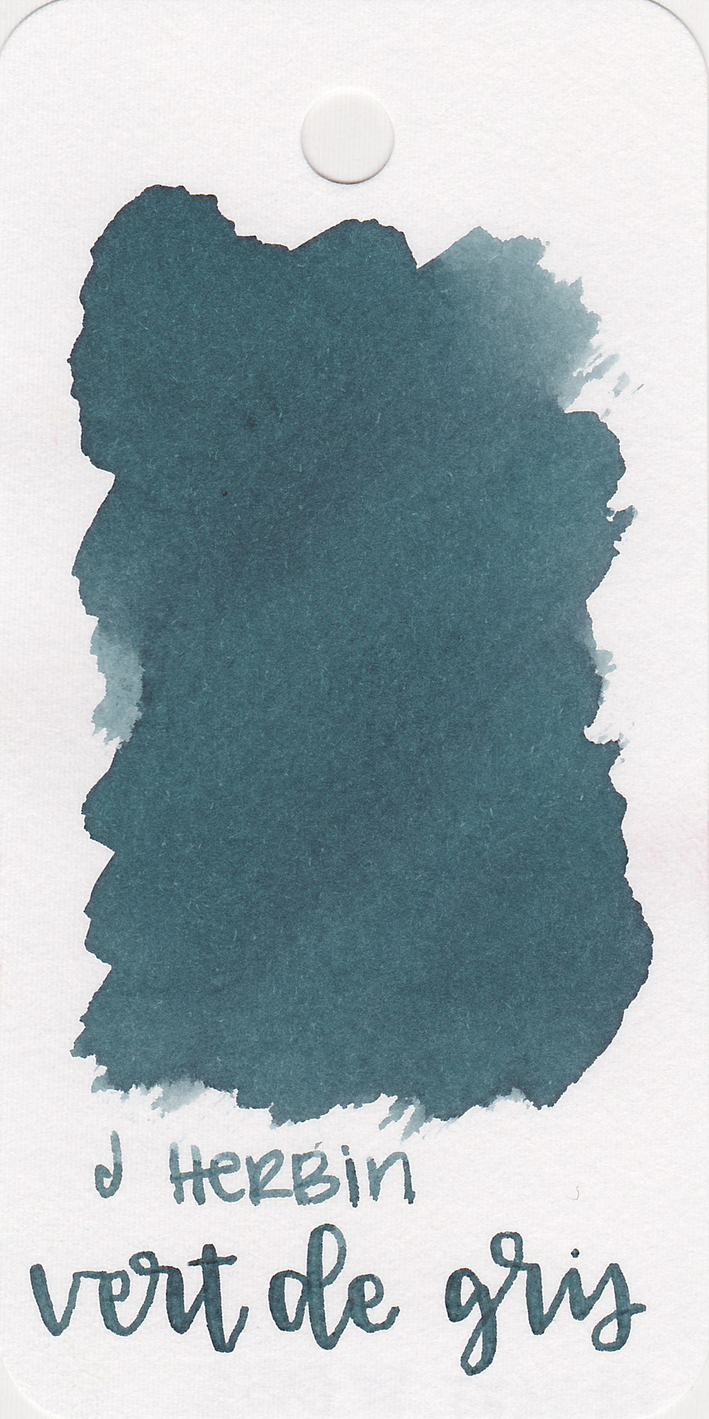 The color: - Vert de Gris is one of those colors that could fit in a few categories. In large swabs it looks more green/grey and in writing it looks more blue, so I'm going to call it a blue.