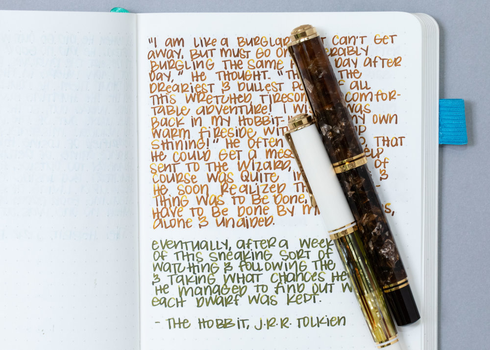 I used a medium Pelikan M800 Renaissance Brown and a medium Pelikan M400 White Tortoise on an ivory Hippo Noto Notebook. The inks had an average flow.
