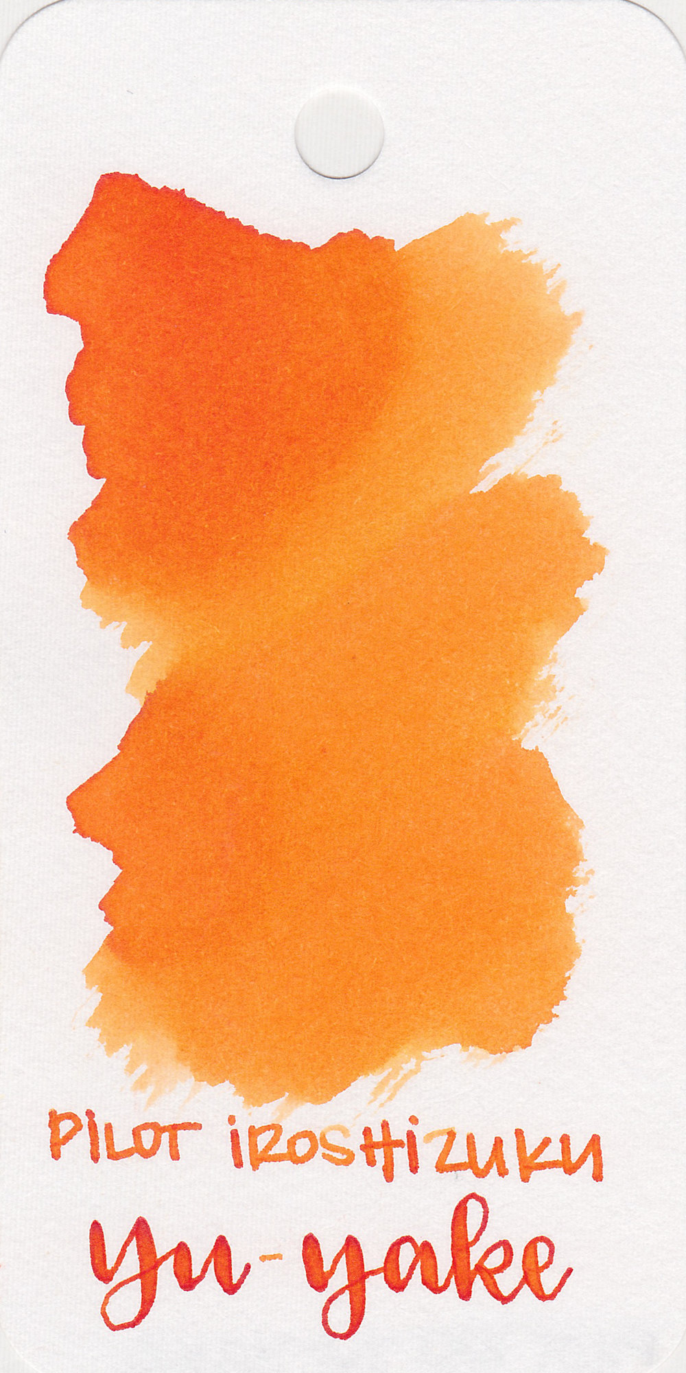 The color: - Yu-yake is a beautiful medium orange.