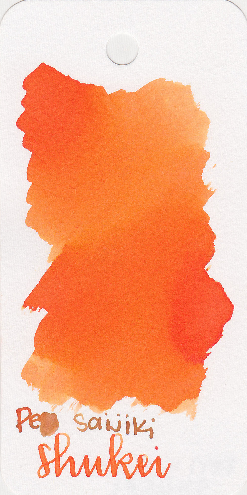 The color: - Shukei is a medium orange. Sometimes it looks true orange, and sometimes it leans a bit coral.