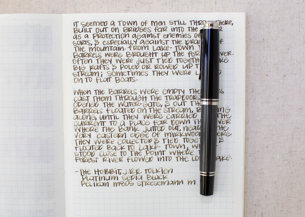 I used a medium Pelikan M805 Stresemann on a Midori MD notebook. The ink had a dry flow.