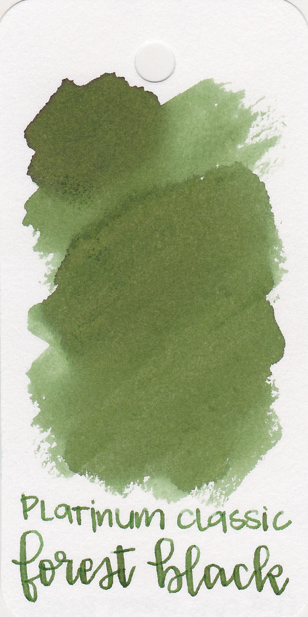 The color: - Forest Black is an unsaturated medium green.