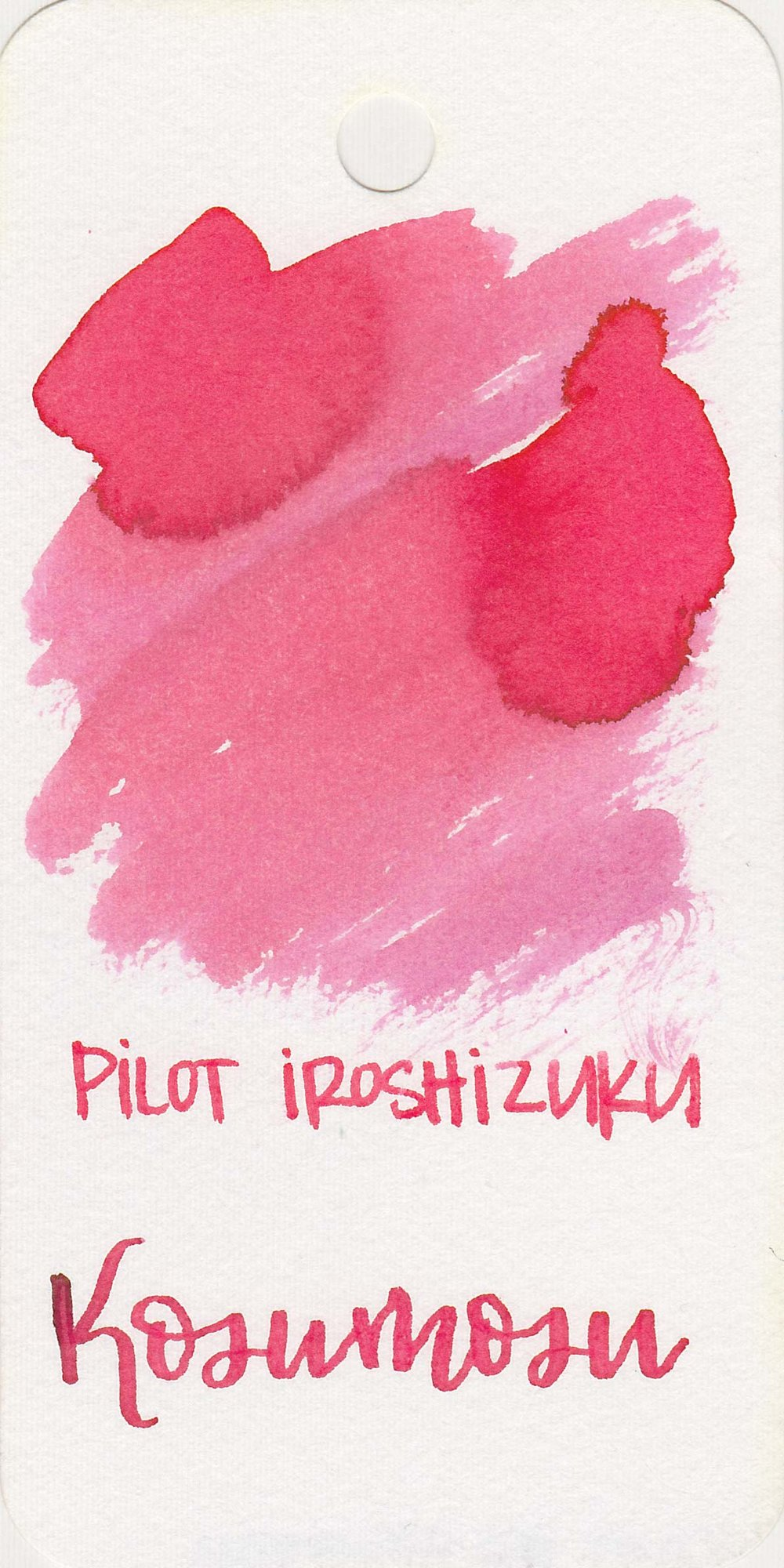 The color: - Kosumosu is a pretty pink. It looks much paler on the Col-o-ring than it does on other papers.