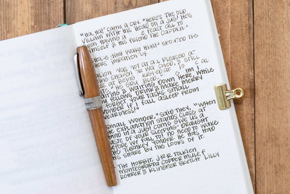 I used a fine Montegrappa Copper Mule on Tomoe River 68gsm. I had some issues with flow. You can see in the first three paragraphs there was some clogging and skipping, so I ended up priming the feed a bit and then it wrote much smoother.