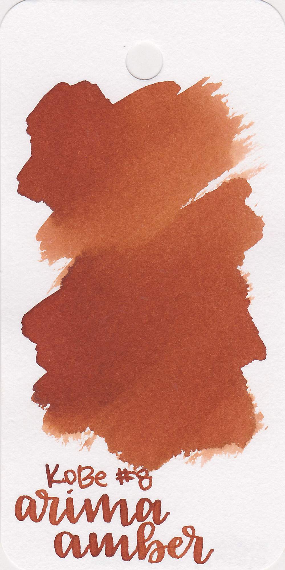 The color: - Arima Amber is a dark red-orange.