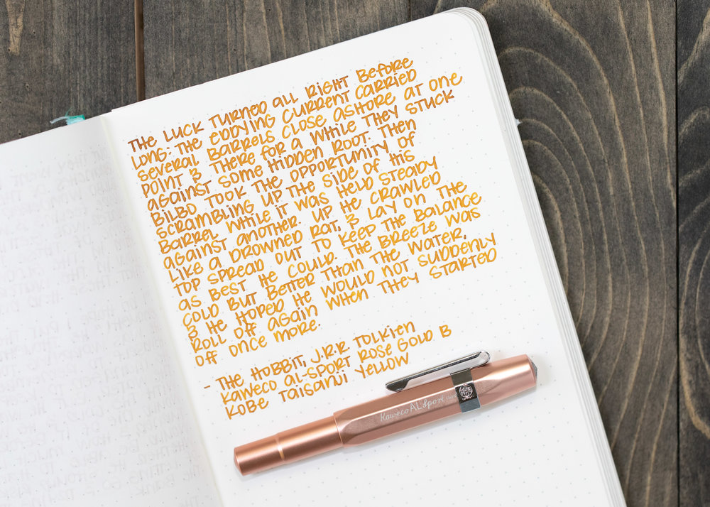 I used a broad Kaweco Al-sport Rose Gold on Tomoe River 68gsm. The ink had an average flow.