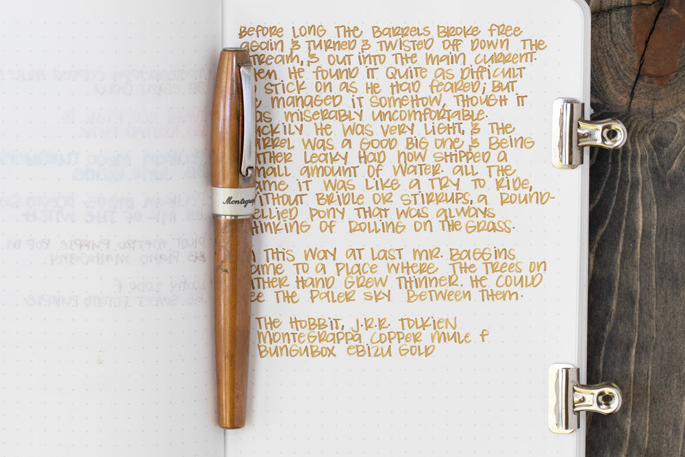 I used a fine Montegrappa Copper Mule on Tomoe River 68gsm. The ink had an average flow.